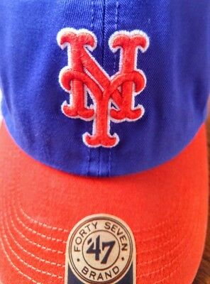 43927a39280fe NEW YORK METS Franchise  47 Brand Fitted Cap Blue Hat Orange Bill ...
