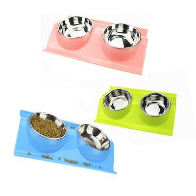 Stainless Steel Pet Cat Kitten Dog Double Bowl Feeding Water Food Dish 3 Colours