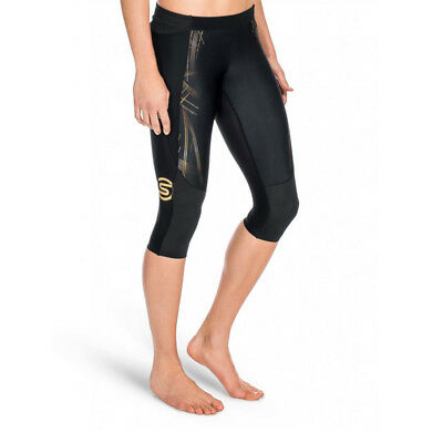 NEW Skins A400 Black/Gold Compression 3/4 Tights Women's Size Large L