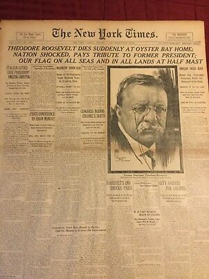 Death Of President Theodore Roosevelt - 1919 New York Times Newspaper