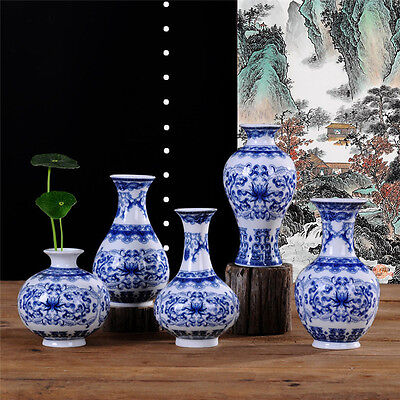 Vintage Blue and White Porcelain Ceramic Home Decorative Chinese Style Art Vases