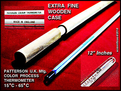 """PATERSON +15°C  to +65°C Made in England Colour Processing 12"""" inch Thermometer"""