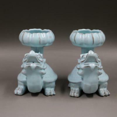 Chinese Old Marked Ru Kiln Sky Blue Carve Dragon Turtle Porcelain Candle holders