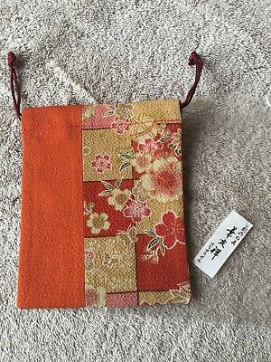 Japanese Kimono Silk Draw String Bag Pouch Orange & Gold Flowers New in Bag
