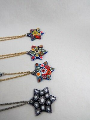 Vintage - 4x Murano Glass Star of David Necklaces