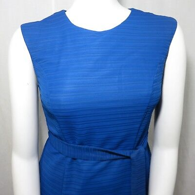 Vintage 60s Cobalt Blue Fit And Flare Dress Lily Lynn L Belted Union USA Made