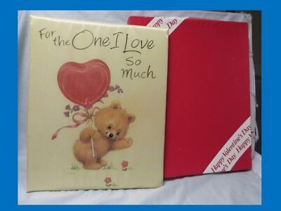Vintage Huge, 14 X11 In Box American Greetings Valentine Card,heart,bear,cloth