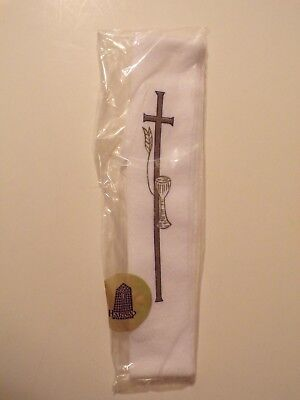 Harbro Communion Stole white cross wheat chalice NEW