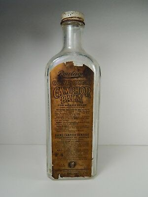 Rare Antique Rawleigh Camphor Balm Embossed Medicine Bottle. Montreal - Winnipeg