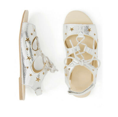 NWT Gymboree Silver Star Lace Up Sandals Shoes Kid Girls Sizes 1 & 2  (#10)