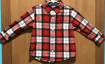 Gymboree Toddler Boy's 2T Button Down Shirt Long Sleeve Red/Black/White Pocket