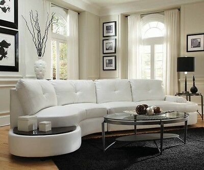 Italian Modern Contemporary Curved Sectional Sofa Couch White Faux Leather