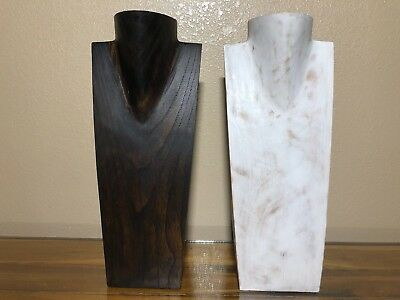 """16"""" Hand Carved Wooden Necklace Bust Jewelry Display Stand Solid Wood G3"""