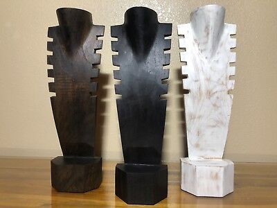 """16"""" Multi-cut Hand Carved Wooden Necklace Bust Jewelry Display Stand Solid G5"""