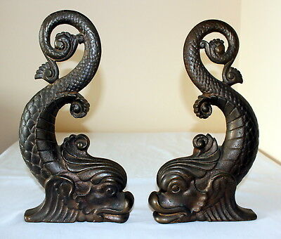 Genuine Antique c.1900.. SEA SERPENT Koi Fish Dolphin Andirons HEAVY SOLID Brass