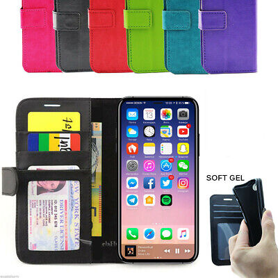 iPhone X XR XS MAX Case, Card Holder Leather Wallet Leather Flip Cover Stand