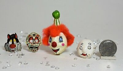 Wonderful Vintage Lot of 4 VTG Halloween Dollhouse Miniature Masks ~ Clown, ect.