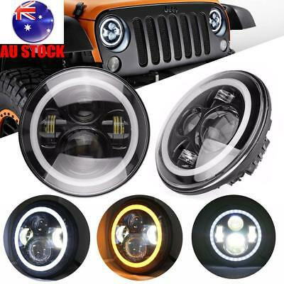 2x 7inch Round LED Halo Angle Eyes Headlight Round Driving Light DRL For Jeep AU