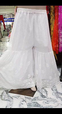 Indian Diwali Special Sharara Lucknow Chikankari Ethnic Fancy Wear White Palazzo