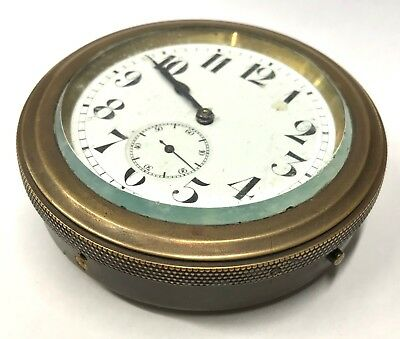 Stunning Antique Vintage Brass Car Clock Push Fit Into Dashboard Rear Wound