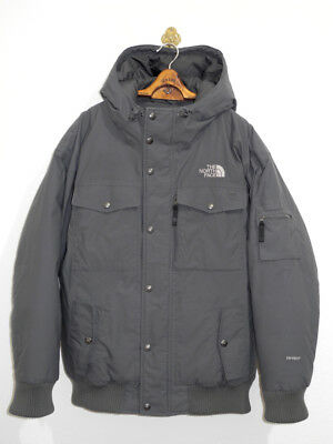 The North Face Daunen Jacke L/xl Grau Kapuze Hyvent Waterproof Bomber Vintage