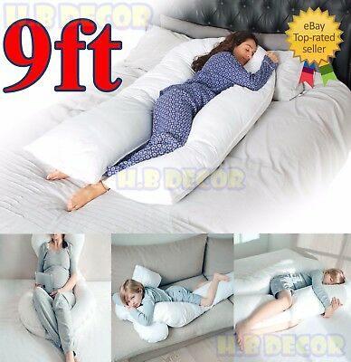 9ft Extra Fill Comfort U Pillow Body Back Support Nursing Maternity Pregnancy