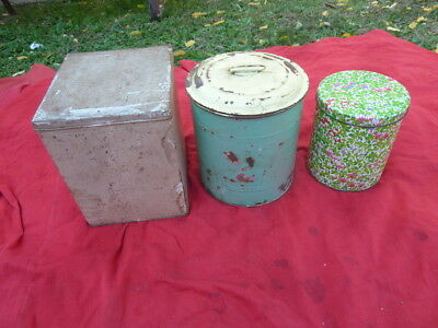3 Vintage Kitchen Biscuit Tins. Canisters, different types. Display, Collectable