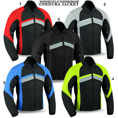 NEW Mens Motorcycle Waterproof Cordura Textile Jacket Motorbike With Armours