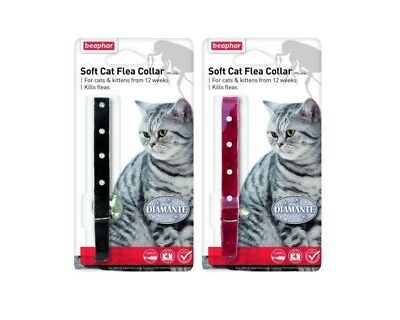 Beaphar Diamante Soft Cat Flea Collar 16 Week Protection Black Red Bell