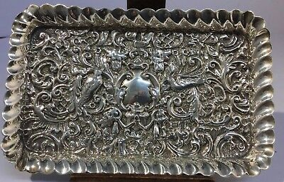 Antique Solid Silver Ornate Repousse Dish / Tray - Henry Matthews, 1903, VGC.