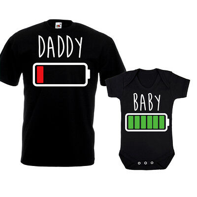 a72e274f6 Daddy Low Battery Full T Shirt Vest Funny New Dad Baby Grow Christmas Gift  Set