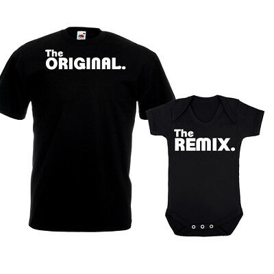 The Original Remix T Shirt Vest New Dad Daddy Baby Grow Christmas Gift Set Top