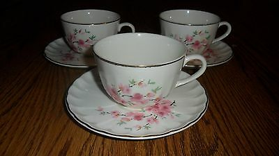 Vintage 1948 WS George Bolero Peach Cup and Saucer Sets