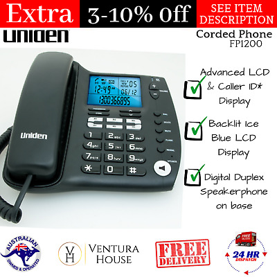 Uniden FP1200 Corded Phone Advanced LCD & Caller ID Display Wall/Desk Mountable