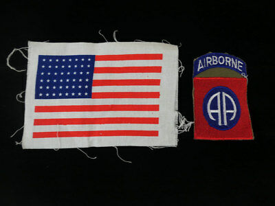 US Army 82nd Airborne Division & USA Flag stars & stripes patch Aufnäher