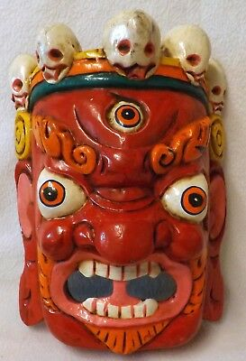 Chinese Mahakala Hand Carved Wooden Wall Mask, Bright and Colourful, Oriental