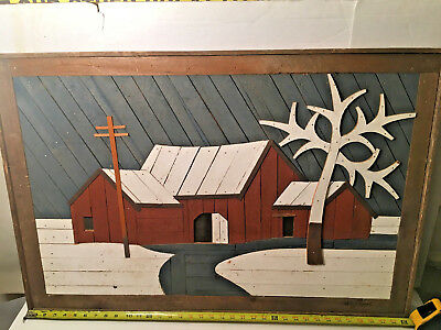 Vintage Inlaid Wood Art Framed Signed Snow Covered Farm Lot A