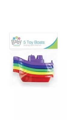 Baby Bath Time Boats - 5 Pack Floating Coloured Boats Toddler Bath Time Fun Toy