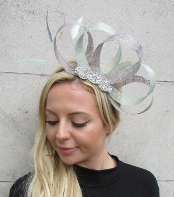 Grey Mint Light Green Silver Diamante Feather Fascinator Sinamay Hair Races 6303