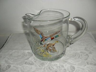 "Vintage Morgan Glass Water Pitcher With Ducks 5.25"" Tall & Heavy - Barware -EUC"