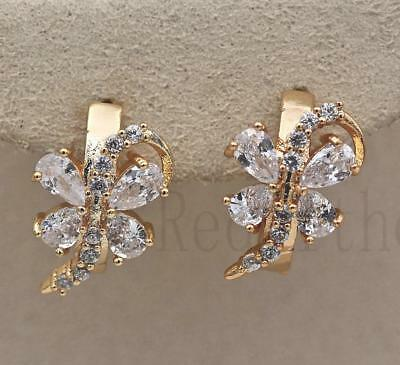 18K Gold Filled - Butterfly Hollow Swirl Clear Zircon Waterdrop Hoop Earrings