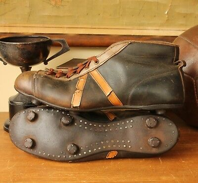 f78e1e10a5e2 Vintage Leather Football Boots. Nailed On Soles & Studs. Old Soccer Cleats  c1950