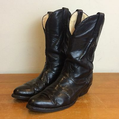 Vintage 50s 60s Black Leather Cats Paw Sole Mens 10 D Western Cowboy Roper Boots