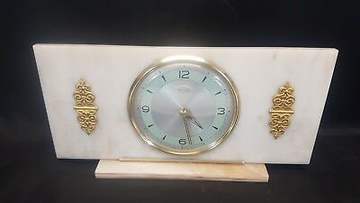 Vintage Smiths Tempora Wind Up Mantle Clock mounted in a Onyx Style Material