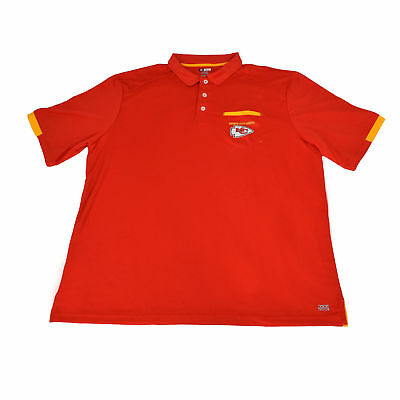 Authentic NFL Kansas City Chiefs Red & Yellow TX3 Cool Polo Shirt With Pocket