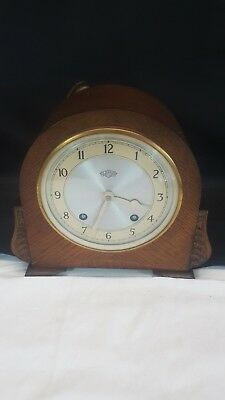 Antique Garrad 1931 Wooden Chiming Mantle Clock with Key