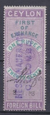 Ceylon Great Britain 1880S First Of Exchange Foreign Bill 1R20C Revenue Stamps