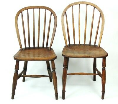 A pair of Victorian Elm & Ash Windsor Chairs - FREE Shipping [PL4707]
