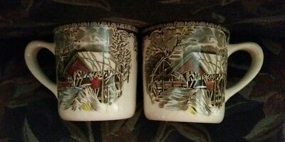 Pair Of Friendly Village Vintage Hot Cocoa Mugs ENGLAND!