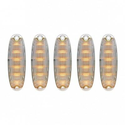 6 LED Cab Lights for 2008-2017 Freightliner Cascadia - Amber LED/Clear Lens